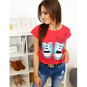 Krásné dámské letní tričko malinově červené s krátkým rukávem