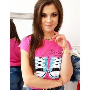 Trendy dámské neonově růžové tričko s krátkým rukávem a potiskem