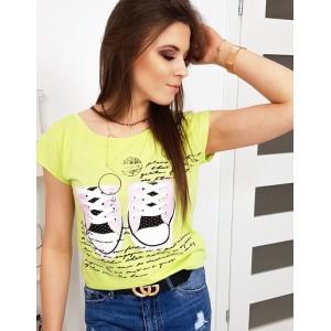 Moderní neonově limetkově žluté dámské tričko s potiskem