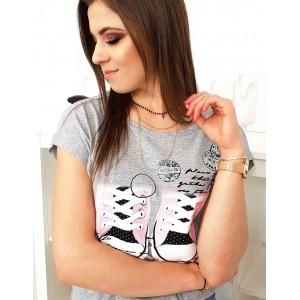 Stylové dámské tričko v šedé barvě s módní potiskem tenisek