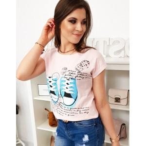 Světle růžové dámské tričko s originálním potiskem tenisek