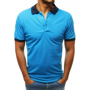 Kvalitní pánské polo tričko v krásné tyrkysové barvě s modrým límcem