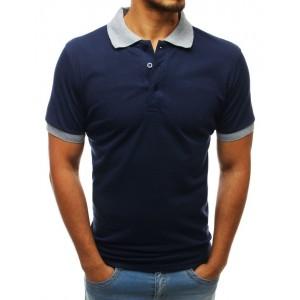Tmavě modré pánské polo tričko s krátkým rukávem a šedým límcem