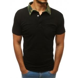 Stylová pánská polokošile černé barvy s army límcem