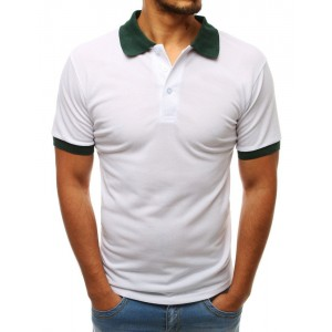 Jednobarevné bílé polo tričko s kontrastním zeleným límcem