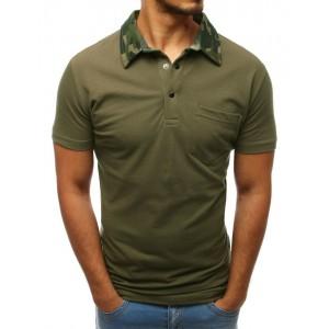 Tmavě zelená pánská polokošile s army límcem