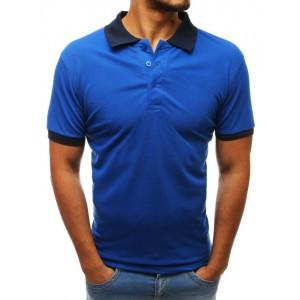 Pánské azurově modré polo tričko s tmavě modrým límcem