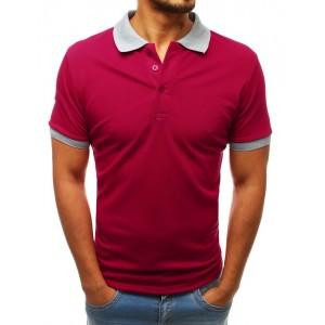 Originální bordó pánské polo tričko s kontrastním šedým límcem