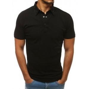 Černá bavlněná pánská polokošile s vybíjením na límci
