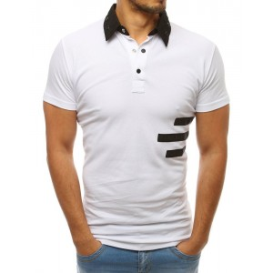 Bílá pánská polokošile s černým límcem