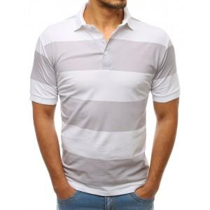 Stylové pánské bílé pruhované tričko s límečkem a zapínáním na knoflíky