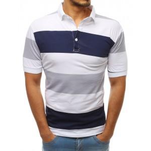 Moderní pánské bílé pruhované polo triko s krátkým rukávem