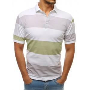 Pánské bílé polo tričko s krátkým rukávem a pastelovými pruhy