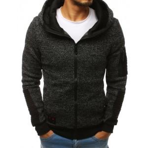 Pánská mikina s kapucí a kapsou na rukávu černé barvy