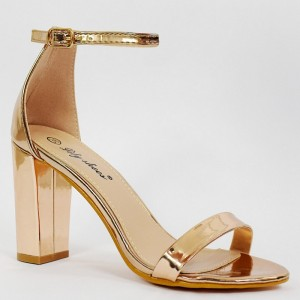 Společenské zlaté dámské sandály na módním vysokém podpatku