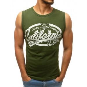 Tričko bez rukávů pro pány v zelené barvě
