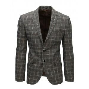 Elegantní pánské kostkované sako v šedé barvě
