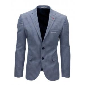 Modré pánské sako s páskovým motivem