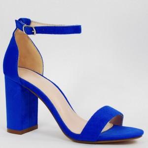 Královsky modré dámské sandály na vysokém podpatku s vázáním