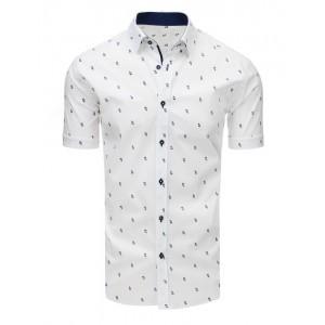 Bílá pánská vzorovaná košile s krátkým rukávem