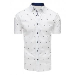 Vzorovaná pánská košile s krátkým rukávem bílé barvy