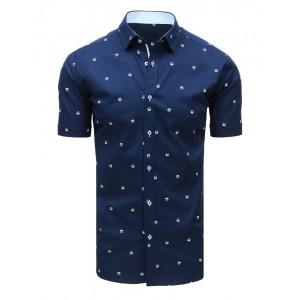 Vzorovaná tmavě modrá pánská košile s krátkým rukávem