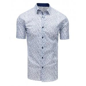 Bílá košile s krátkým rukávem a modrým vzorem