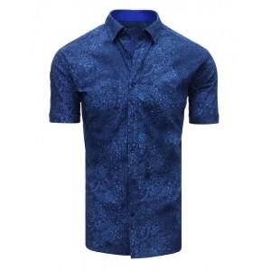 Moderní vzorovaná košile modré barvy s krátkým rukávem