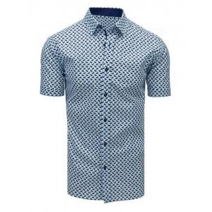 Pánská košile s krátkým rukávem a modrým vzorem