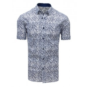Bílá letní pánská košile s modrým vzorem