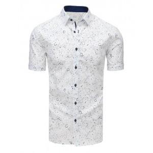 Bavlněná pánská slim fit košile s krátkým rukávem bílé barvy