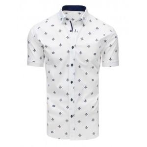Pánská společenská košile bílé barvy s elegantním motivem