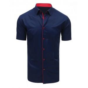 Elegantní pánská košile s krátkým rukávem tmavě modré barvy