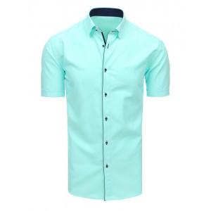 Exkluzivní pánská košile s krátkým rukávem v mátové zelené barvě