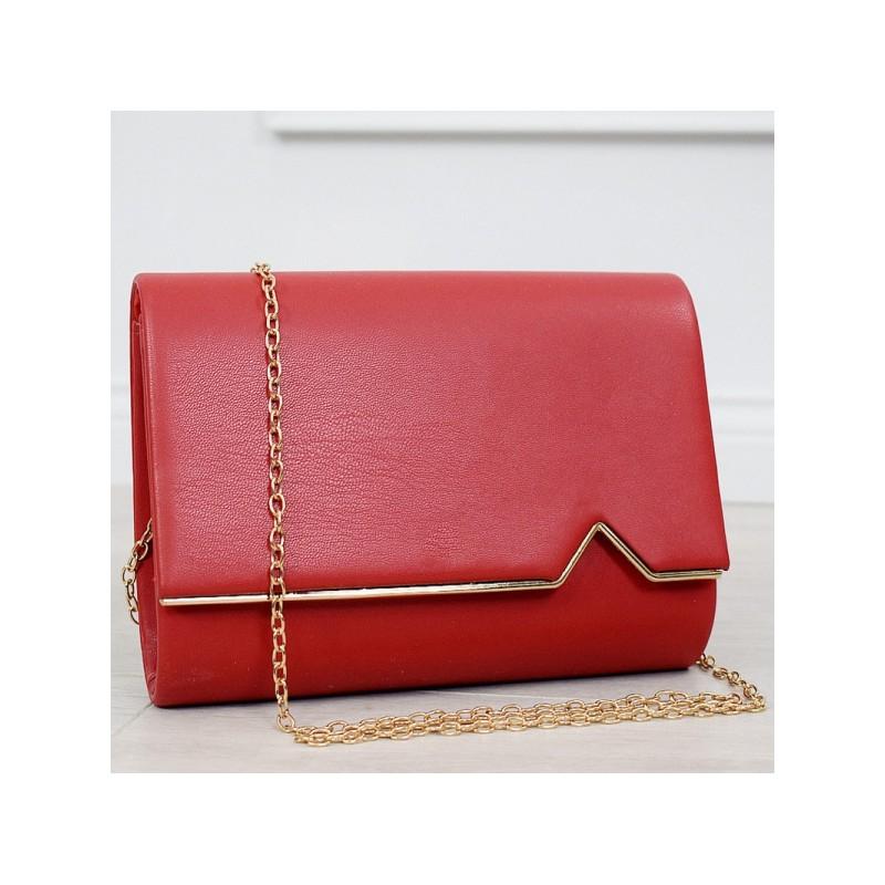 fef7ef07ac Krásná červená kabelka se zlatou řetízkem a zlatým lemem