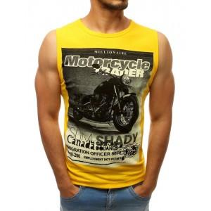 Motorkářské pánské tričko bez rukávů ve výrazné žluté barvě