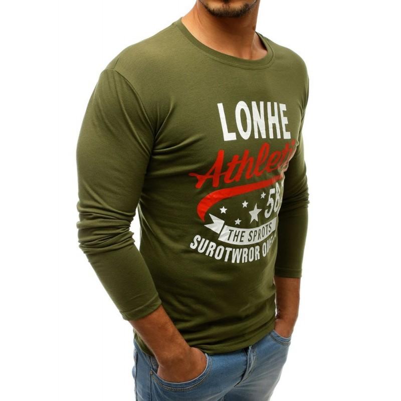 06a06eced Stylové pánské tričko s dlouhým rukávem zelené barvy