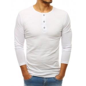 Bílé bavlněné triko s dlouhým rukávem pro pány