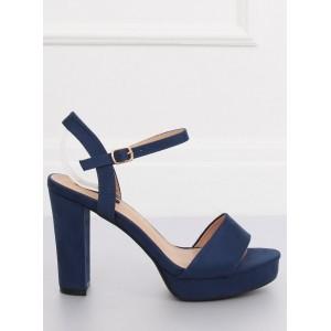 Tmavě modré semišové sandály na vysokém podpatku