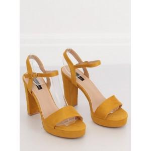Trendové dámské sandály žluté barvy na platformě