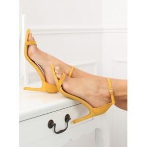 Dámské sandály na štíhlém podpatku žluté barvy