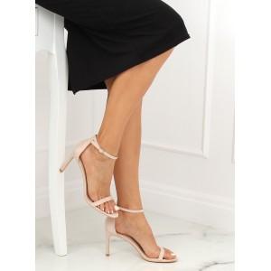 Vysoké dámské páskové sandály v béžové barvě