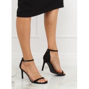 Černé elegantní sandály na vysokém podpatku