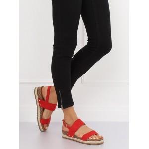 Pohodlné dámské sandály červené barvy na korkové podrážce