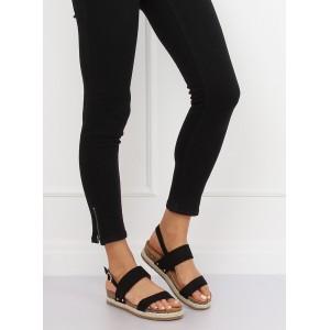 Černé dámské sandály na hrubé korkové podrážce