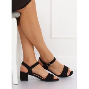 Pohodlné sandály černé barvy na nízkém hrubém podpatku