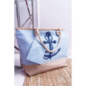 Modrá dámská plážová taška s námořnickým motivem
