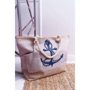 Plážová taška s námořnickým motivem v khaki barvě