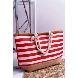 Trendová žíhaná taška na pláž červené barvy