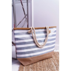 Praktická bílo šedá pruhovaná taška na pláž
